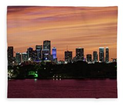 Miami Sunset Panorama Fleece Blanket