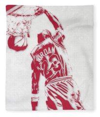 Michael Jordan Chicago Bulls Pixel Art 1 Fleece Blanket