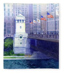 Michigan Avenue Bridge Fleece Blanket