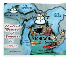 Michigan Fun Map Fleece Blanket