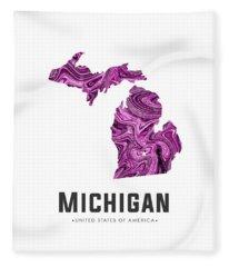 Michigan Map Art Abstract In Purple Fleece Blanket