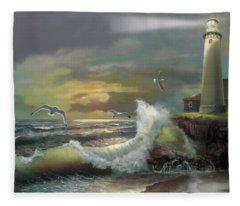 Michigan Seul Choix Point Lighthouse With An Angry Sea Fleece Blanket