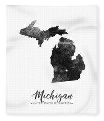 Michigan State Map Art - Grunge Silhouette Fleece Blanket