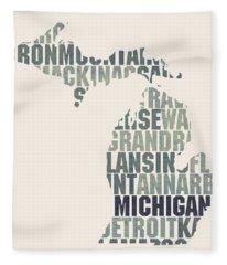 Michigan State Outline Word Map Fleece Blanket