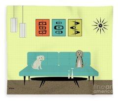 Mid Century Modern Dogs 2 Fleece Blanket
