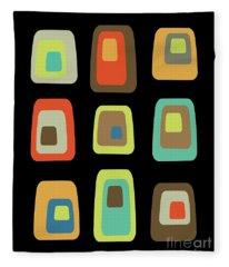 Mid Century Modern Oblongs On Black Fleece Blanket