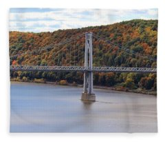 Mid Hudson Bridge In Autumn Fleece Blanket