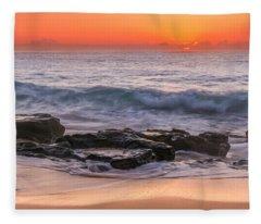 Middle Beach Sunrise Fleece Blanket