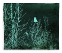 Midnight Flight Silhouette Teal Fleece Blanket