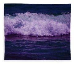 Midnight Ocean Wave In Ultra Violet Fleece Blanket