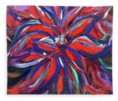 Midnight Poinsettia Fleece Blanket