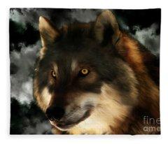 Midnight Stare - Wolf Digital Painting Fleece Blanket