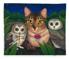 Midnight Watching - Abyssinian Cat Saw Whet Owls Fleece Blanket