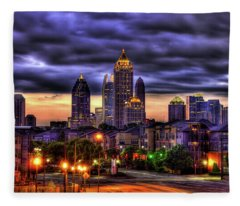 Midtown Atlanta Towers Over Atlantic Commons Art Fleece Blanket
