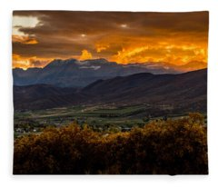 Midway Utah Sunset Fleece Blanket
