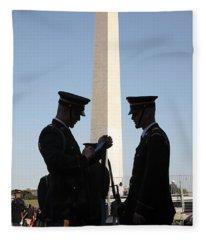 Military Ceremony At The Washington Monument Fleece Blanket
