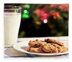 Milk And Cookies For Santa Fleece Blanket