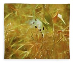 Fleece Blanket featuring the mixed media Milkweed In Sunlight 2 by Lynda Lehmann