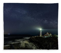 Milky Way At Portland Head Light Fleece Blanket