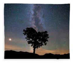 Milky Way, Mars And Heart Tree Fleece Blanket