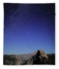 Milky Way Over Half Dome Fleece Blanket