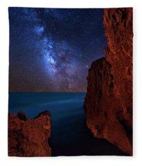 Milky Way Over Huchinson Island Beach Florida Fleece Blanket