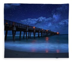 Milky Way Over Juno Beach Pier Under Moonlight Fleece Blanket