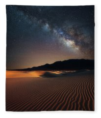 Milky Way Over Mesquite Dunes Fleece Blanket
