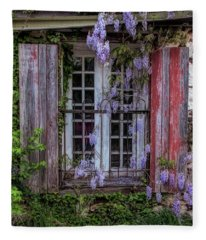 Mill Window Framed By Wisteria  Fleece Blanket