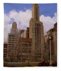 Millenium Park And Bench 1 Fleece Blanket