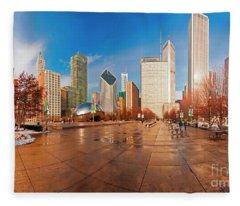 Millennium Park Skyline And The Bean  Fleece Blanket