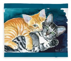 Milo And Tigger - Cute Kitty Painting Fleece Blanket