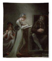Milton Dictating To His Daughter Fleece Blanket