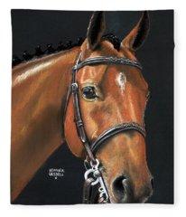 Miner - Bay Horse Portrait Fleece Blanket
