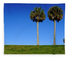 Minimal Palm Trees On A Hill In Saint Augustine Florida Fleece Blanket