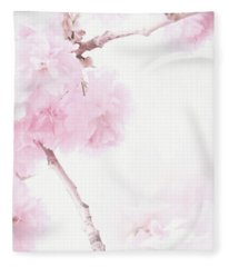 Minimalist Cherry Blossoms Fleece Blanket