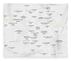 Minimalist Modern Map Of Downtown Damascus, Syria 2 Fleece Blanket