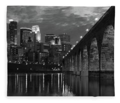 Minneapolis Stone Arch Bridge Bw Fleece Blanket