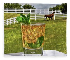 Mint Julep Kentucky Derby Fleece Blanket