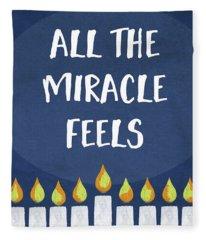 Miracle Feels- Hanukkah Art By Linda Woods Fleece Blanket