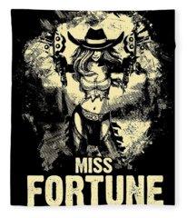 Miss Fortune - Vintage Comic Line Art Style Fleece Blanket