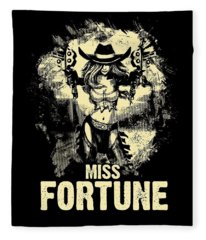 Miss Fortune - Vintage Comic Line Art Style Fleece Blanket