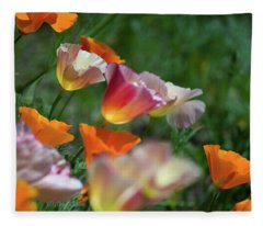 Mission Bell Poppies Fleece Blanket