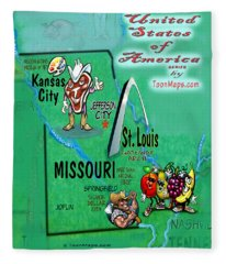 Missouri Fun Map Fleece Blanket