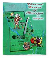 Missouri Fun Map Fleece Blanket