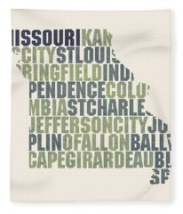 Missouri State Outline Word Map Fleece Blanket