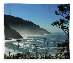 Misty Coast At Heceta Head Fleece Blanket
