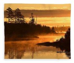 Misty Dawn At Gabbro Lake Fleece Blanket