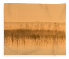 Misty Morning Floating Bog Island On Boy Lake Fleece Blanket