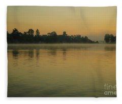 Misty Morning Lake Fleece Blanket